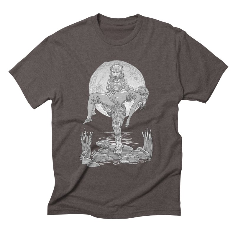 She Creature from the Black Lagoon Black & White Men's Triblend T-Shirt by Ayota Illustration Shop