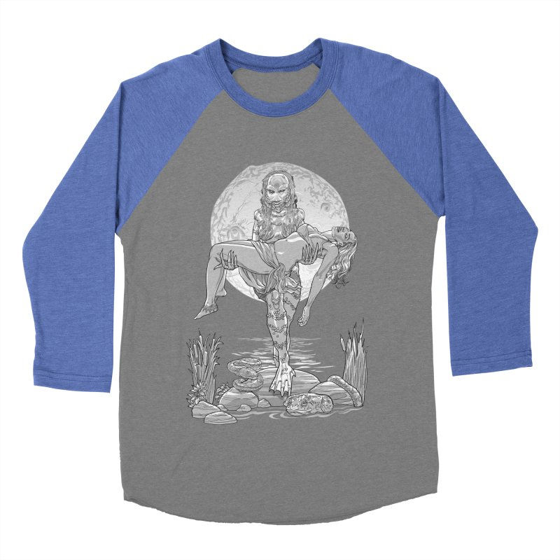 She Creature from the Black Lagoon Black & White Women's Baseball Triblend Longsleeve T-Shirt by Ayota Illustration Shop