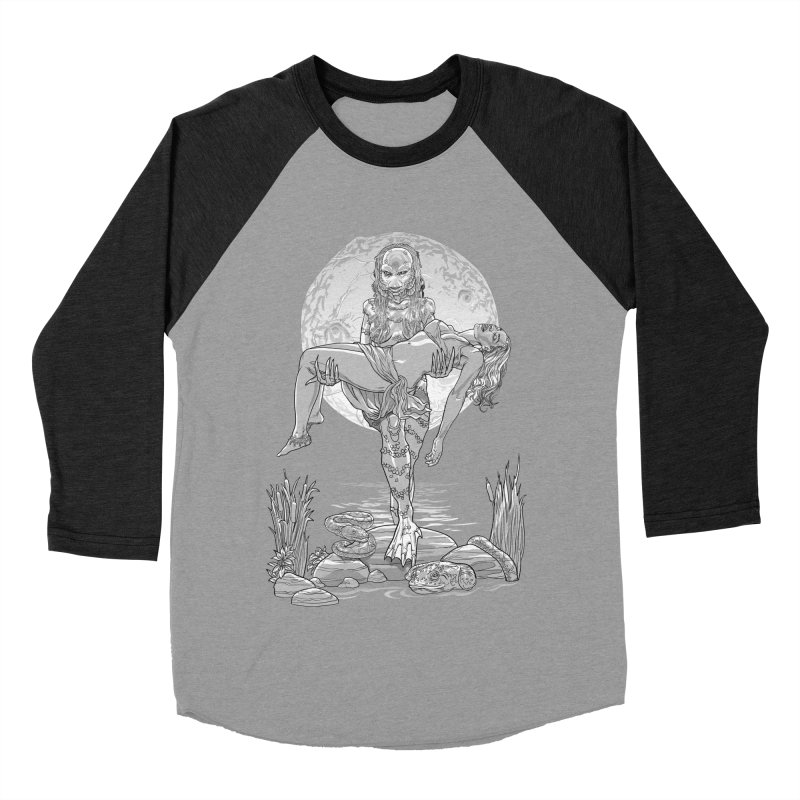 She Creature from the Black Lagoon Black & White Men's Baseball Triblend Longsleeve T-Shirt by Ayota Illustration Shop