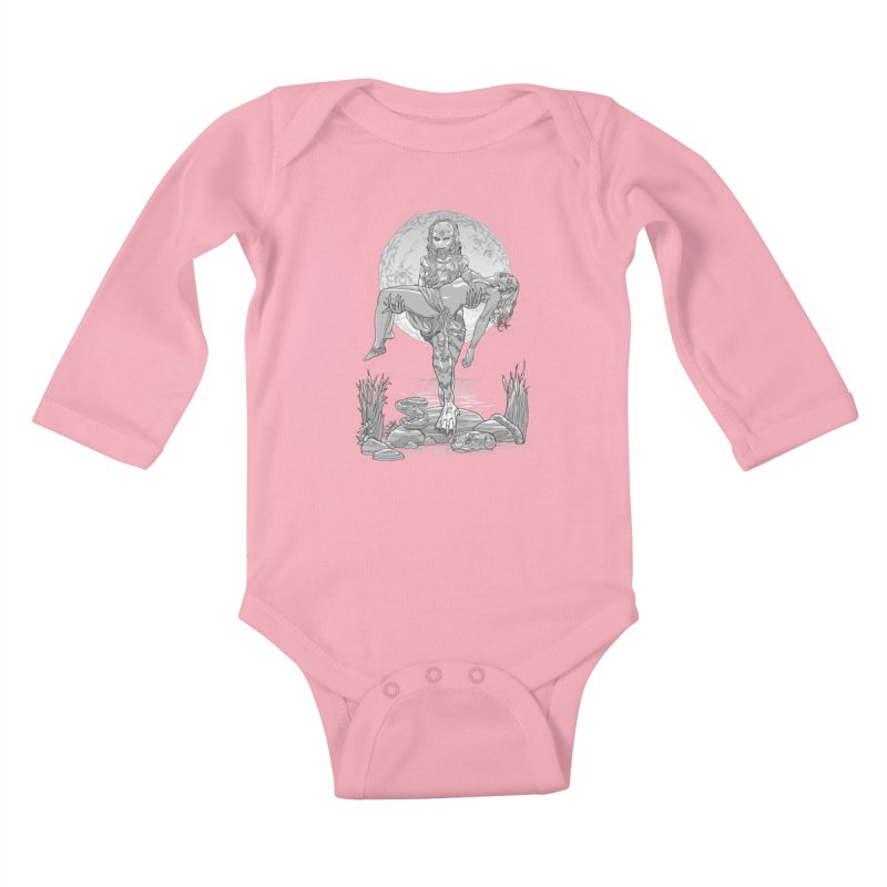 She Creature from the Black Lagoon Black & White Kids Baby Longsleeve Bodysuit by Ayota Illustration Shop