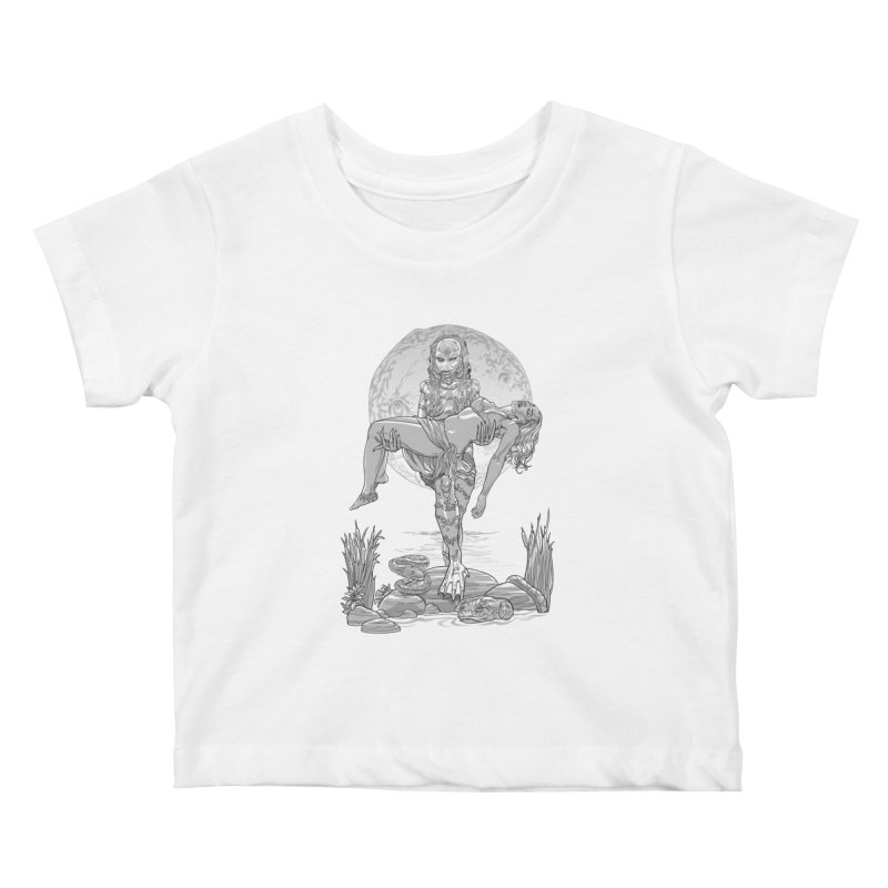 She Creature from the Black Lagoon Black & White Kids Baby T-Shirt by Ayota Illustration Shop