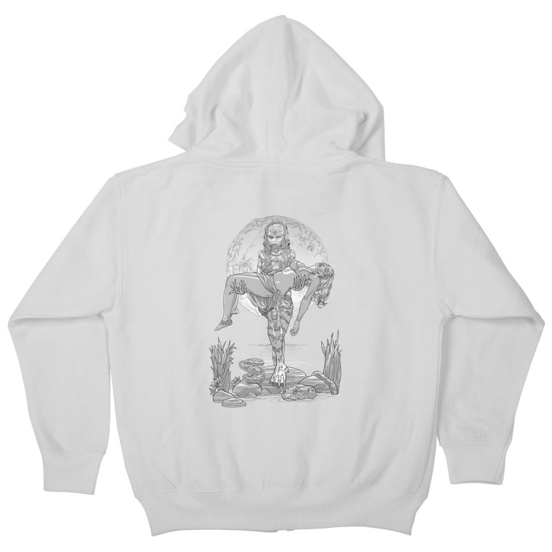 She Creature from the Black Lagoon Black & White Kids Zip-Up Hoody by Ayota Illustration Shop