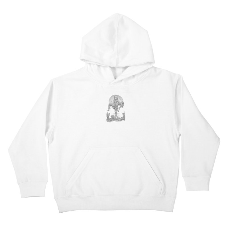 She Creature from the Black Lagoon Black & White Kids Pullover Hoody by Ayota Illustration Shop