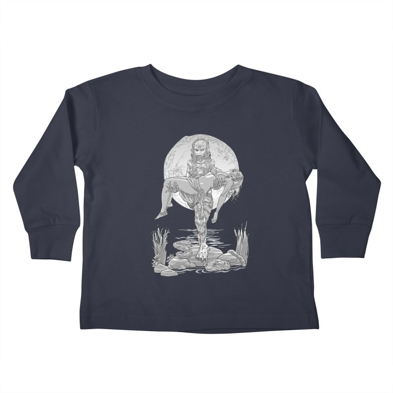 She Creature from the Black Lagoon Black & White Kids Toddler Longsleeve T-Shirt by Ayota Illustration Shop