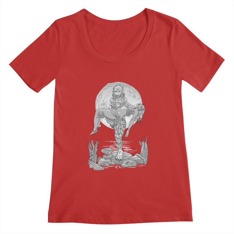 She Creature from the Black Lagoon Black & White Women's Regular Scoop Neck by Ayota Illustration Shop