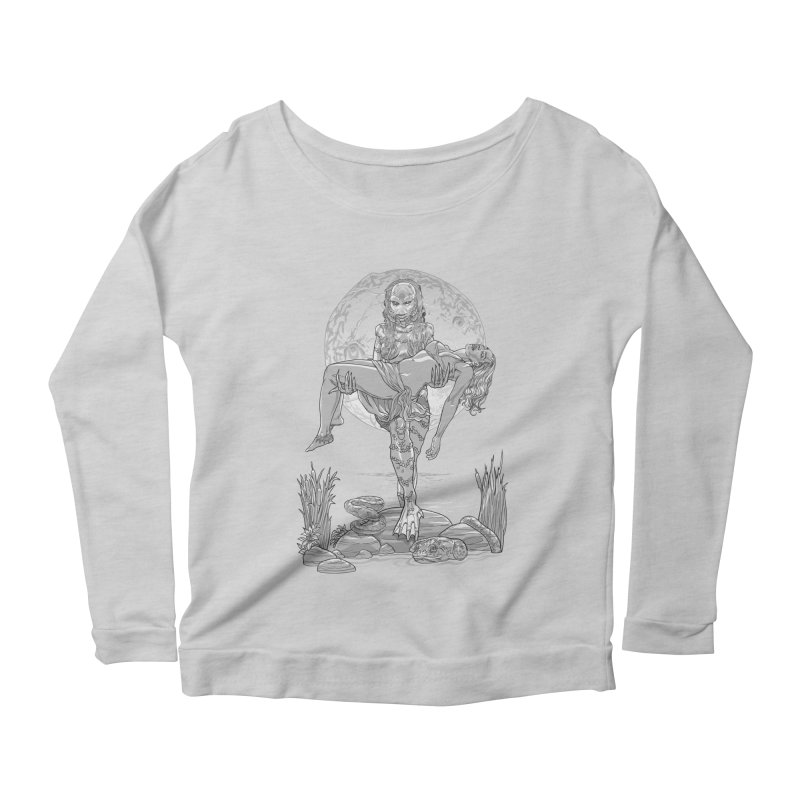 She Creature from the Black Lagoon Black & White Women's Scoop Neck Longsleeve T-Shirt by Ayota Illustration Shop