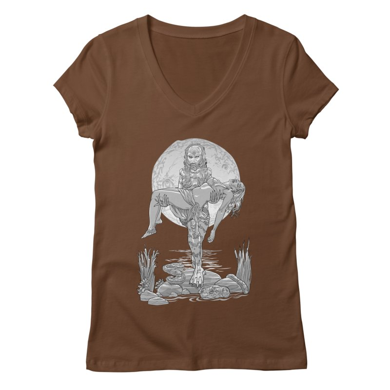 She Creature from the Black Lagoon Black & White Women's V-Neck by Ayota Illustration Shop
