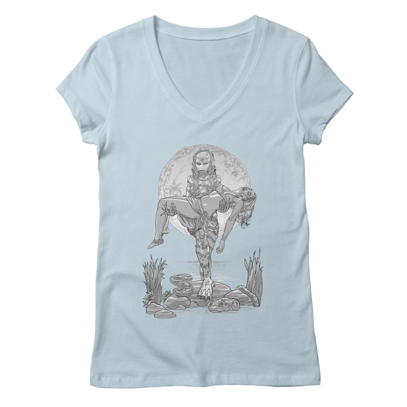 She Creature from the Black Lagoon Black & White Women's Regular V-Neck by Ayota Illustration Shop