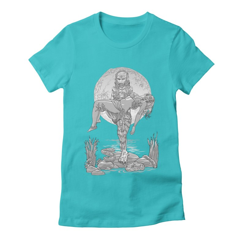 She Creature from the Black Lagoon Black & White Women's Fitted T-Shirt by Ayota Illustration Shop