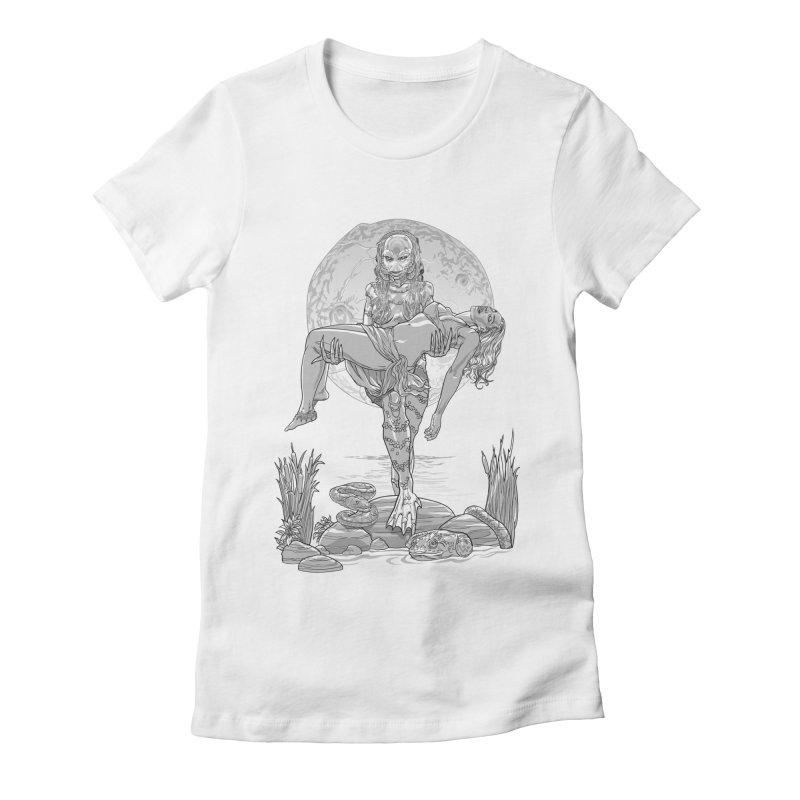 She Creature from the Black Lagoon Black & White Women's T-Shirt by Ayota Illustration Shop