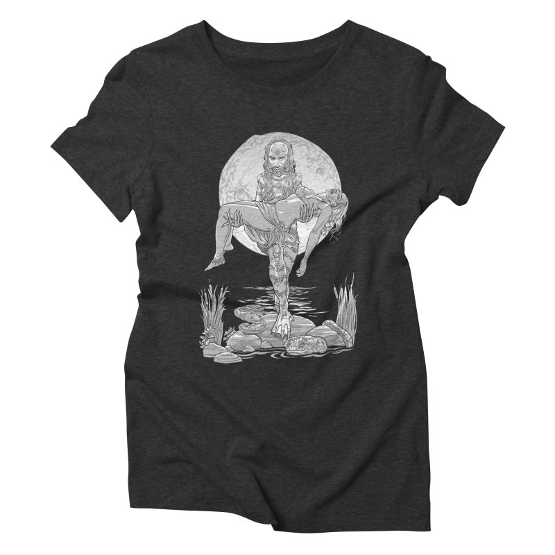 She Creature from the Black Lagoon Black & White Women's Triblend T-Shirt by Ayota Illustration Shop