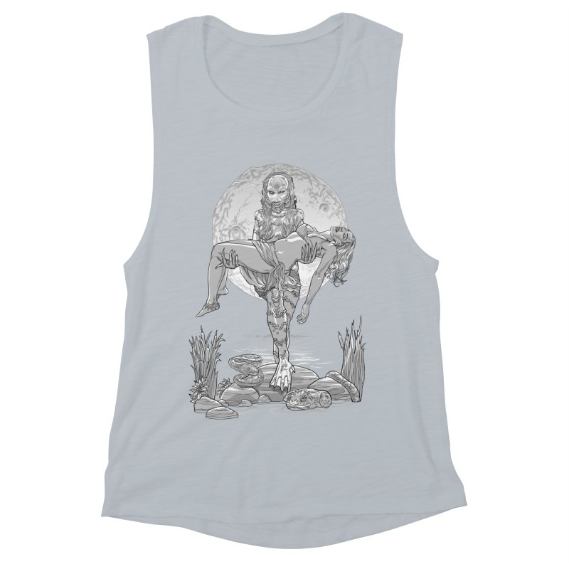 She Creature from the Black Lagoon Black & White Women's Muscle Tank by Ayota Illustration Shop