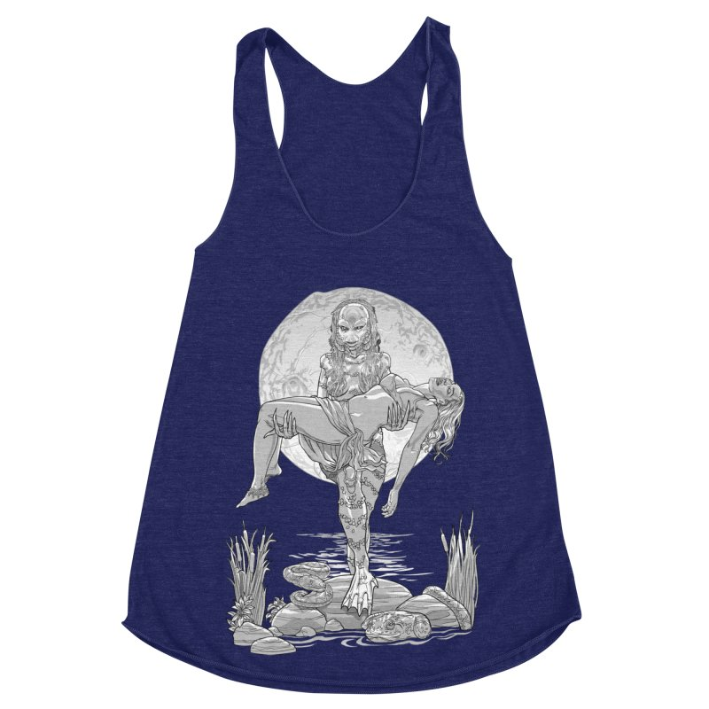 She Creature from the Black Lagoon Black & White Women's Racerback Triblend Tank by Ayota Illustration Shop