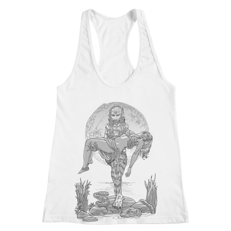 She Creature from the Black Lagoon Black & White Women's Racerback Tank by Ayota Illustration Shop
