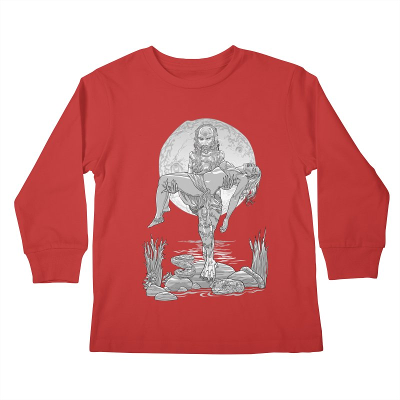She Creature from the Black Lagoon Black & White Kids Longsleeve T-Shirt by Ayota Illustration Shop