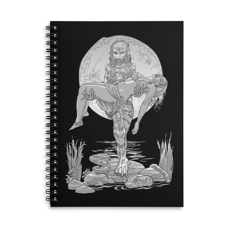 She Creature from the Black Lagoon Black & White Accessories Lined Spiral Notebook by Ayota Illustration Shop