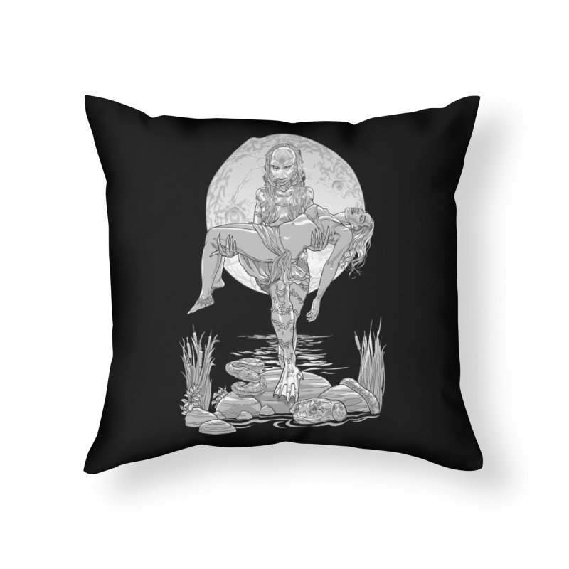 She Creature from the Black Lagoon Black & White Home Throw Pillow by Ayota Illustration Shop