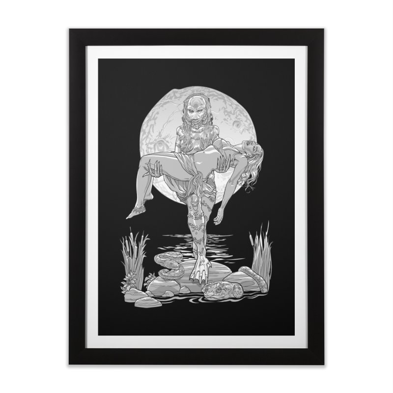 She Creature from the Black Lagoon Black & White Home Framed Fine Art Print by Ayota Illustration Shop