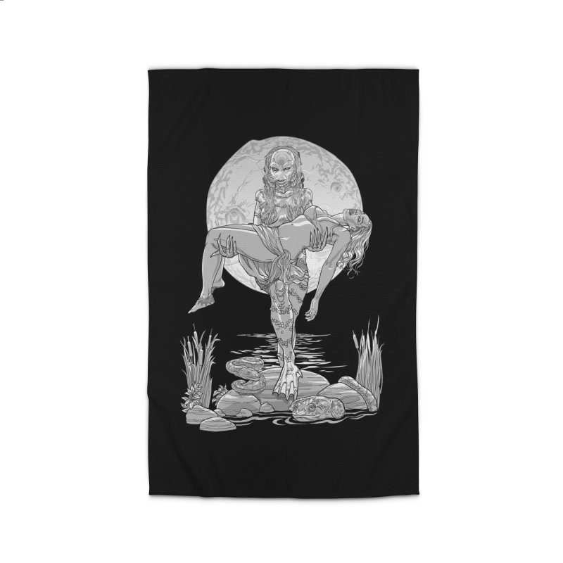 She Creature from the Black Lagoon Black & White Home Rug by Ayota Illustration Shop