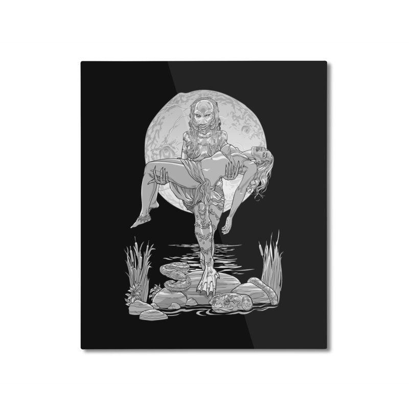 She Creature from the Black Lagoon Black & White Home Mounted Aluminum Print by Ayota Illustration Shop