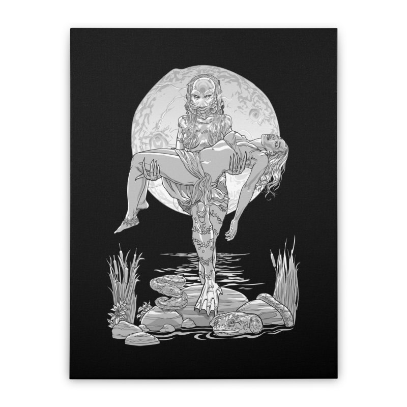 She Creature from the Black Lagoon Black & White Home Stretched Canvas by Ayota Illustration Shop