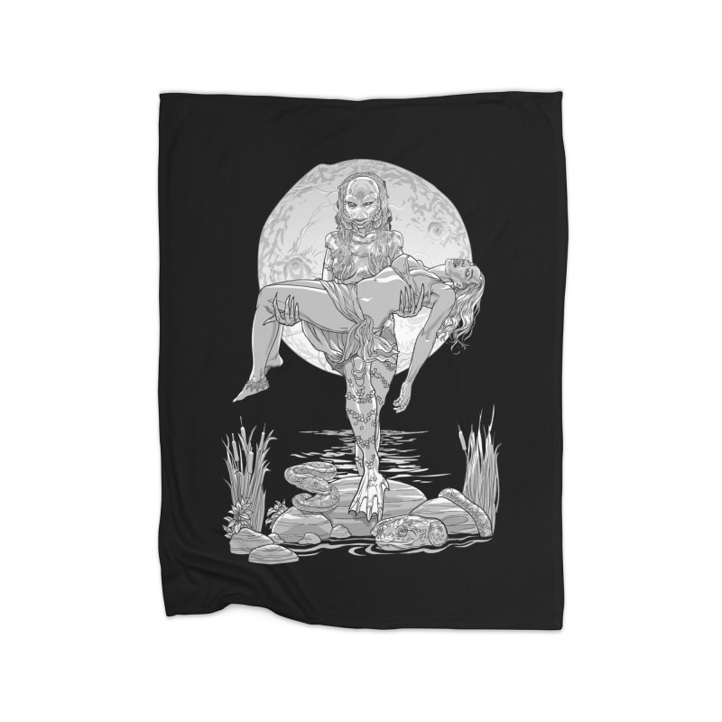 She Creature from the Black Lagoon Black & White Home Blanket by Ayota Illustration Shop