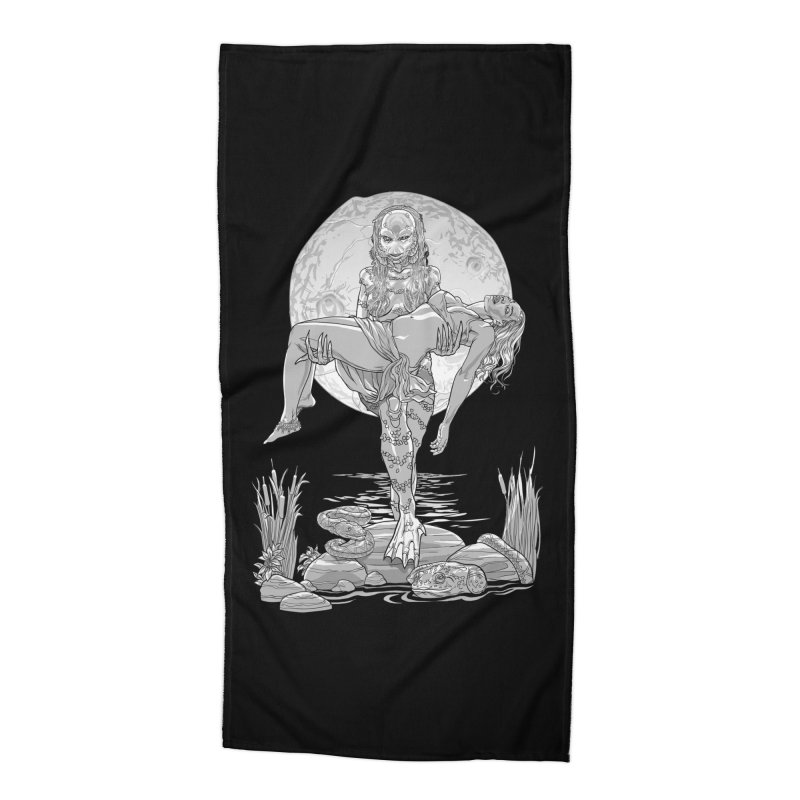 She Creature from the Black Lagoon Black & White Accessories Beach Towel by Ayota Illustration Shop