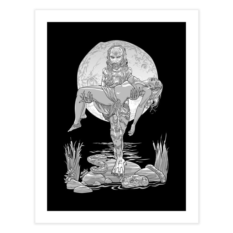 She Creature from the Black Lagoon Black & White Home Fine Art Print by Ayota Illustration Shop