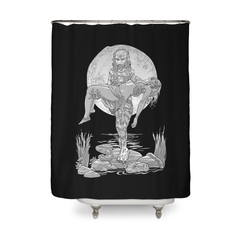 She Creature from the Black Lagoon Black & White Home Shower Curtain by Ayota Illustration Shop