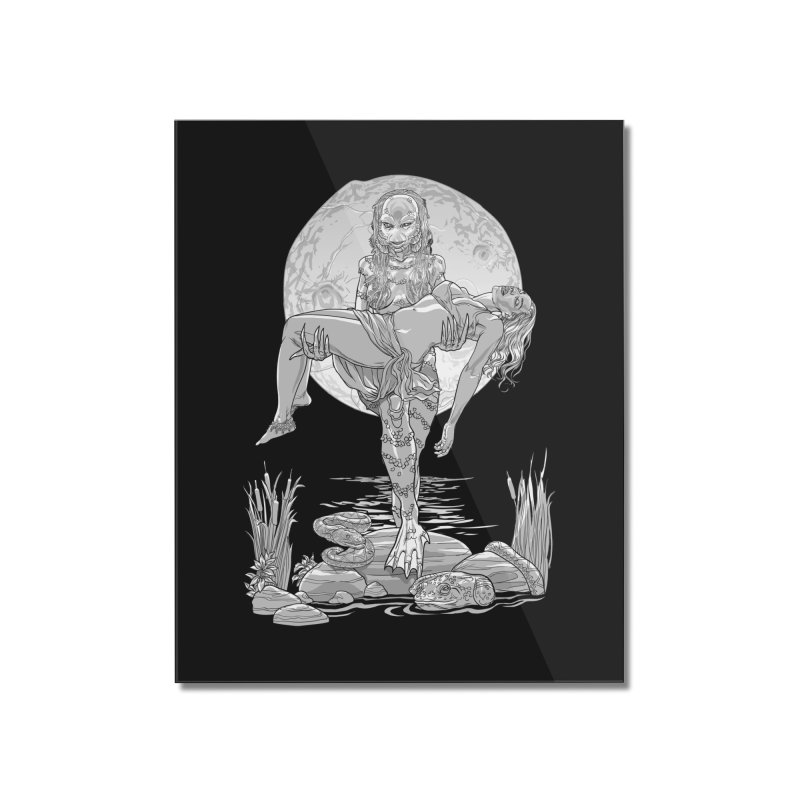 She Creature from the Black Lagoon Black & White Home Mounted Acrylic Print by Ayota Illustration Shop