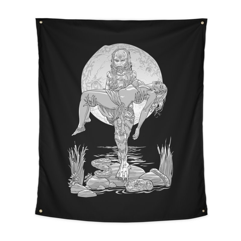 She Creature from the Black Lagoon Black & White Home Tapestry by Ayota Illustration Shop