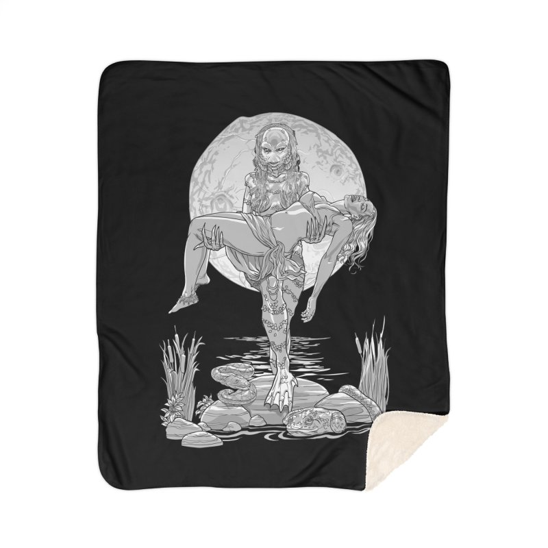 She Creature from the Black Lagoon Black & White Home Sherpa Blanket Blanket by Ayota Illustration Shop