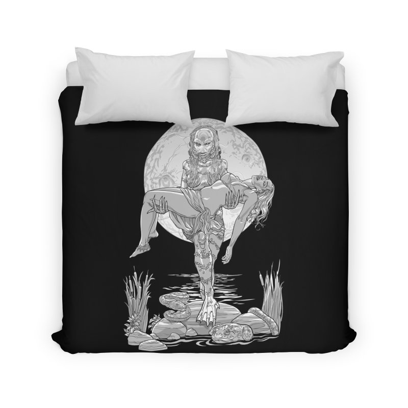 She Creature from the Black Lagoon Black & White Home Duvet by Ayota Illustration Shop