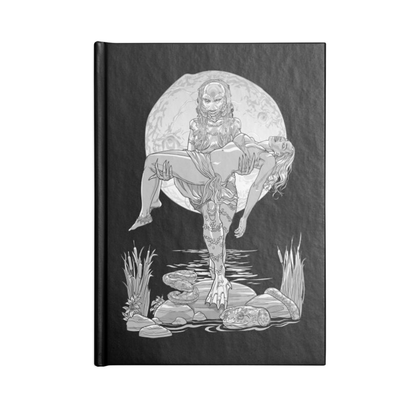 She Creature from the Black Lagoon Black & White Accessories Lined Journal Notebook by Ayota Illustration Shop