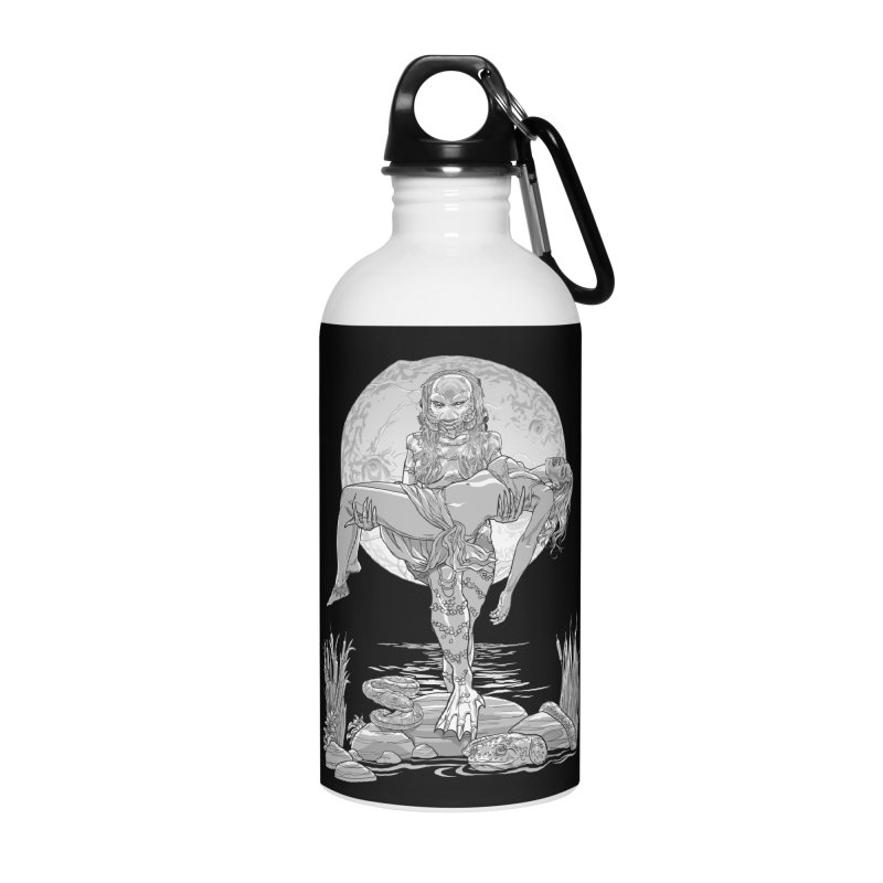 She Creature from the Black Lagoon Black & White Accessories Water Bottle by Ayota Illustration Shop