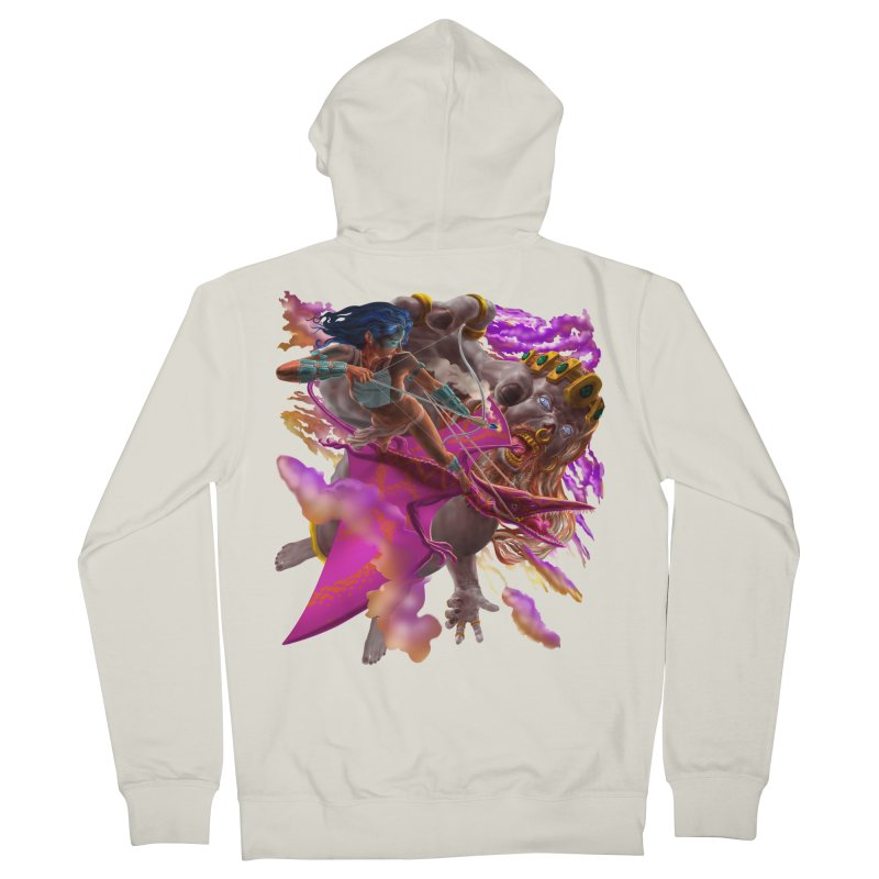 Pterodactyl Warrior vs Giant  Men's Zip-Up Hoody by Ayota Illustration Shop