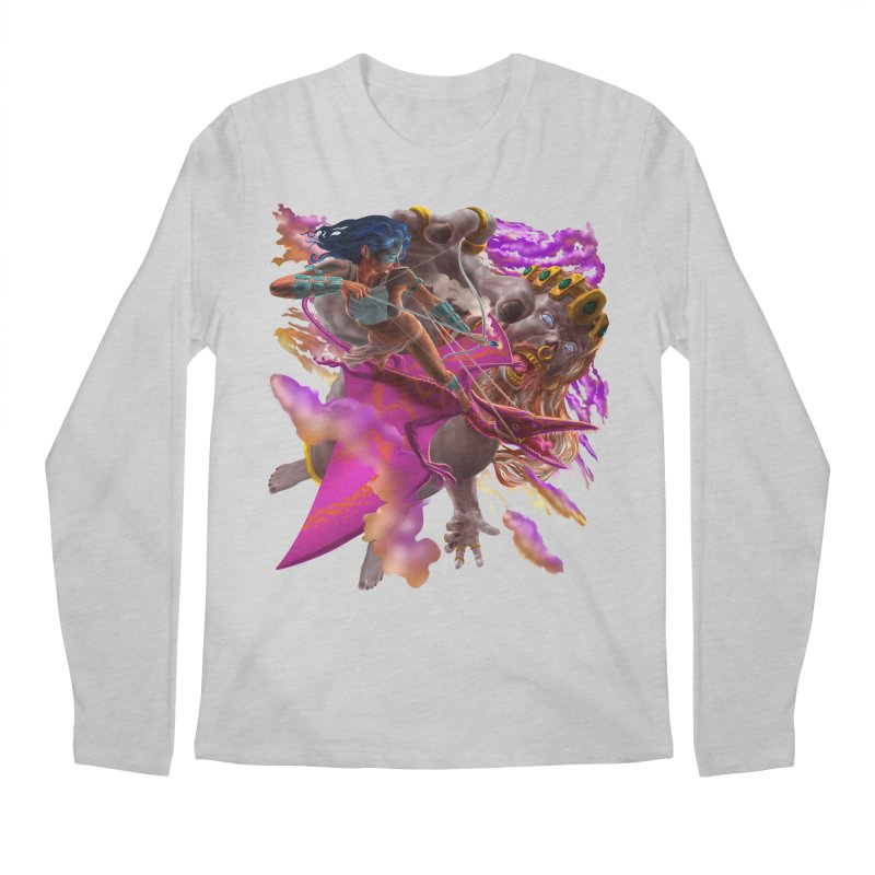 Pterodactyl Warrior vs Giant  Men's Longsleeve T-Shirt by Ayota Illustration Shop