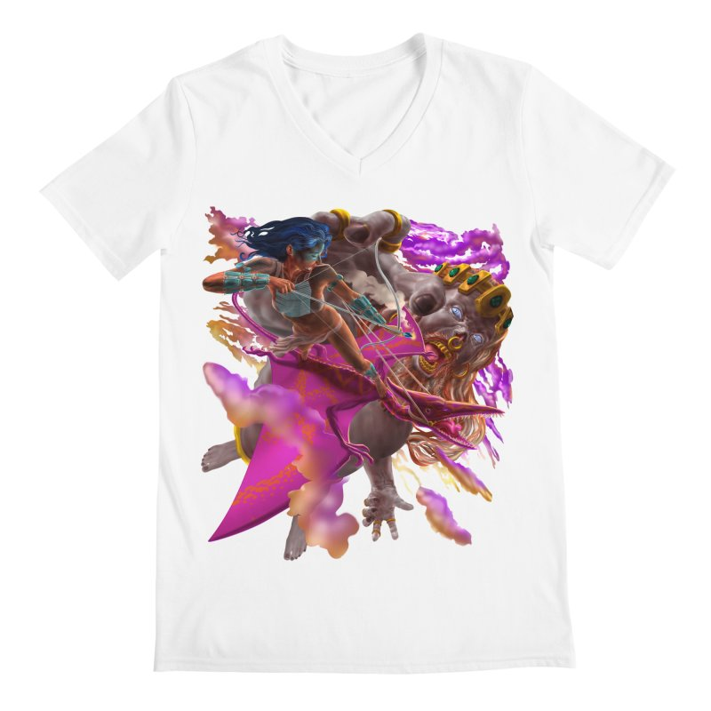Pterodactyl Warrior vs Giant  Men's V-Neck by Ayota Illustration Shop