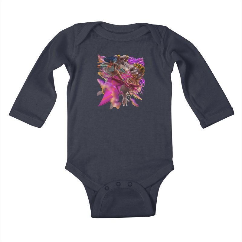 Pterodactyl Warrior vs Giant  Kids Baby Longsleeve Bodysuit by Ayota Illustration Shop
