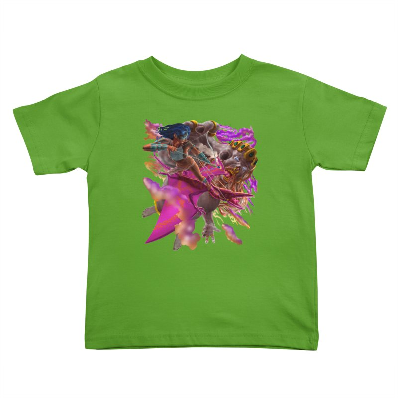 Pterodactyl Warrior vs Giant  Kids Toddler T-Shirt by Ayota Illustration Shop