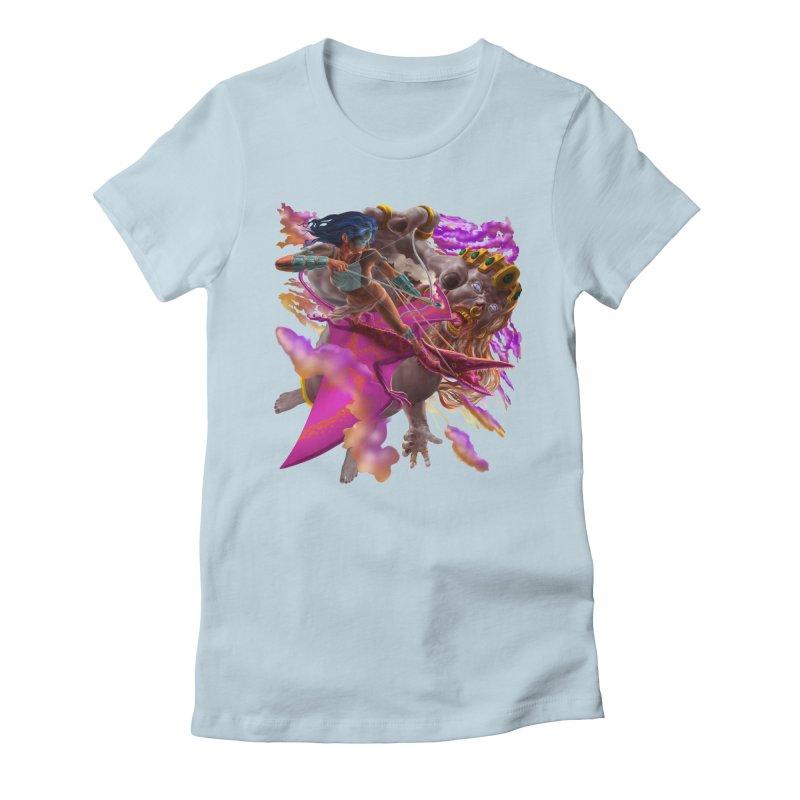 Pterodactyl Warrior vs Giant  Women's T-Shirt by Ayota Illustration Shop
