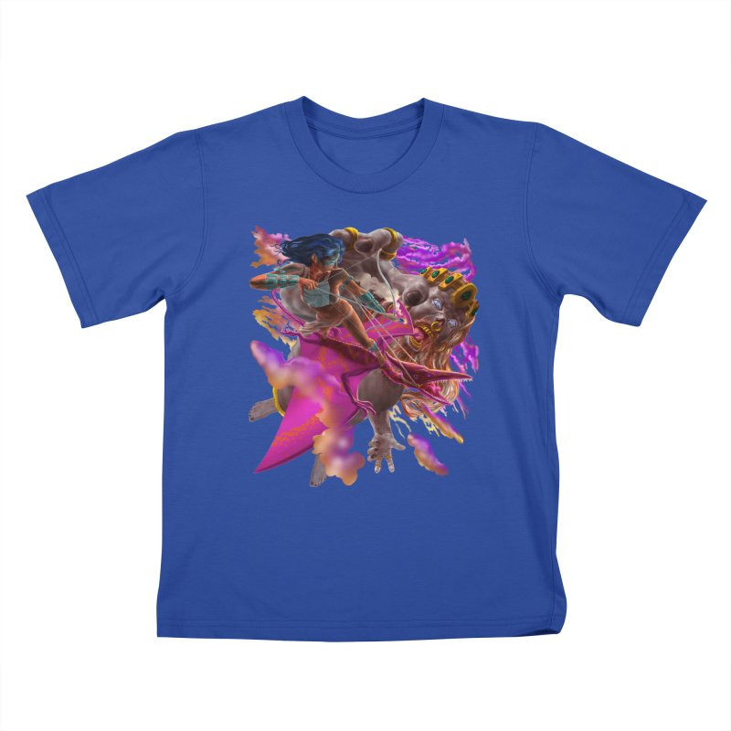 Pterodactyl Warrior vs Giant  Kids T-Shirt by Ayota Illustration Shop