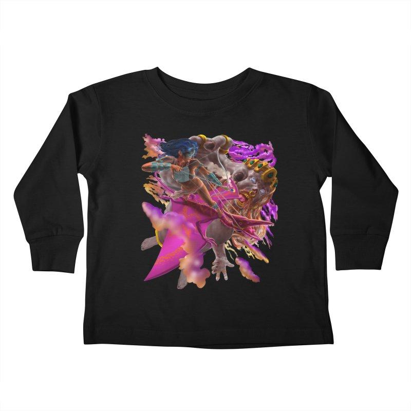 Pterodactyl Warrior vs Giant  Kids Toddler Longsleeve T-Shirt by Ayota Illustration Shop