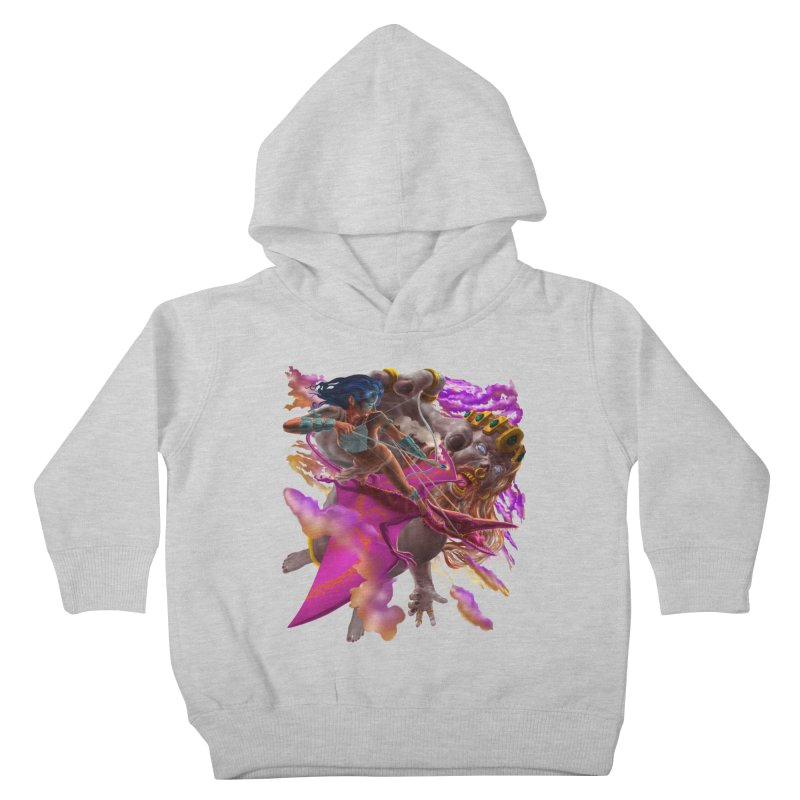 Pterodactyl Warrior vs Giant  Kids Toddler Pullover Hoody by Ayota Illustration Shop