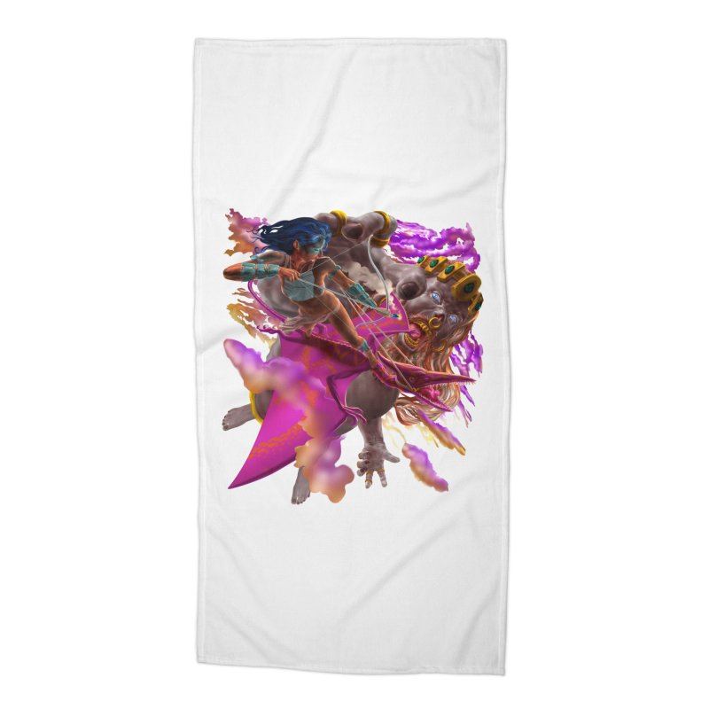 Pterodactyl Warrior vs Giant  Accessories Beach Towel by Ayota Illustration Shop