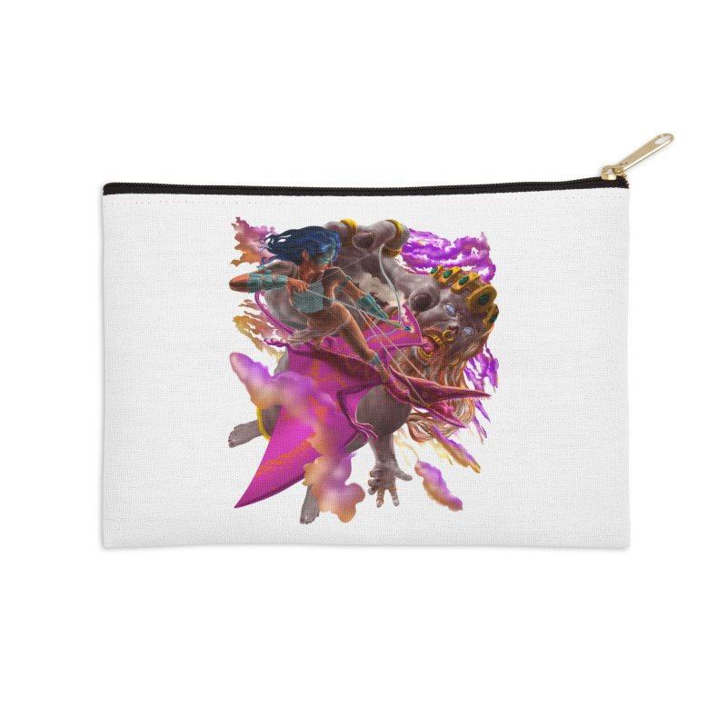 Pterodactyl Warrior vs Giant  Accessories Zip Pouch by Ayota Illustration Shop