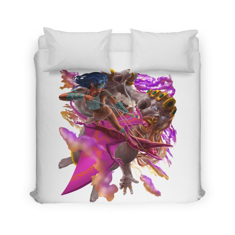 Pterodactyl Warrior vs Giant  Home Duvet by Ayota Illustration Shop