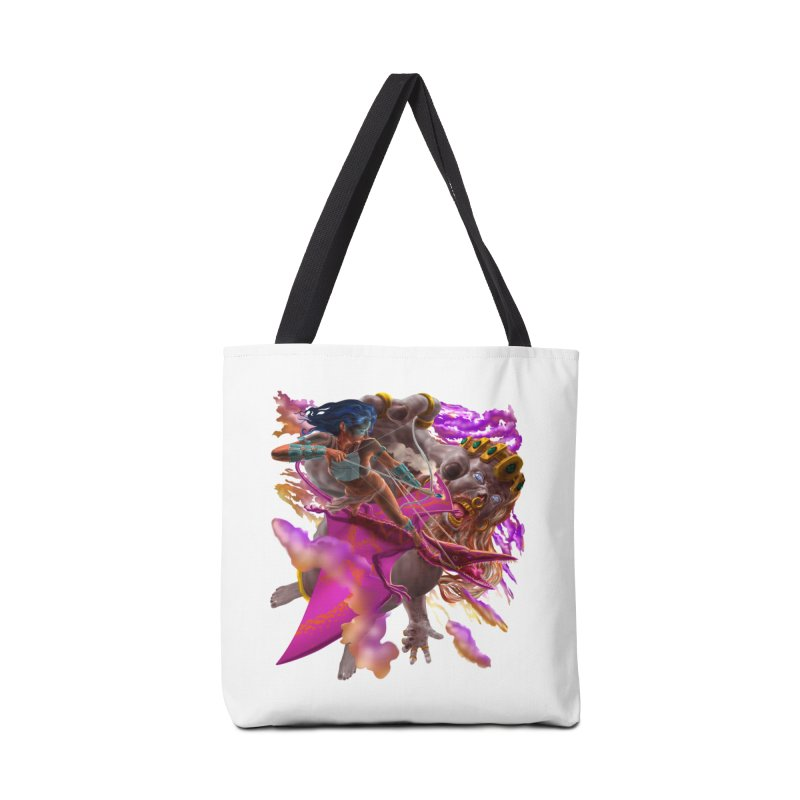 Pterodactyl Warrior vs Giant  Accessories Bag by Ayota Illustration Shop