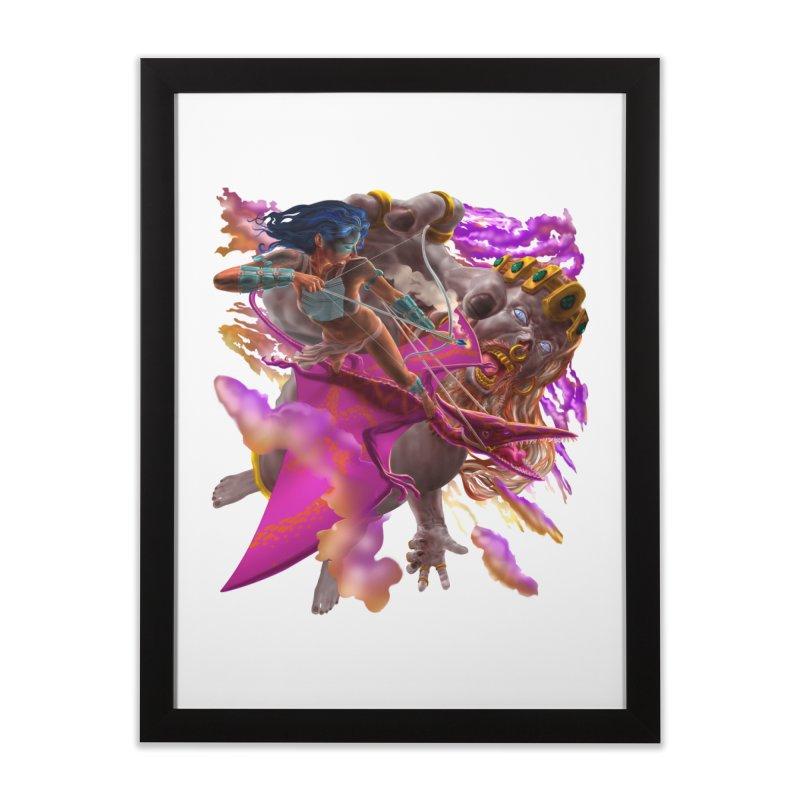 Pterodactyl Warrior vs Giant  Home Framed Fine Art Print by Ayota Illustration Shop