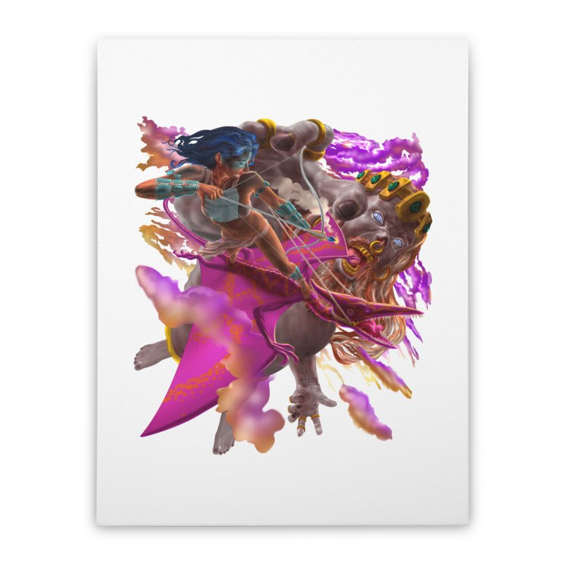 Pterodactyl Warrior vs Giant  Home Stretched Canvas by Ayota Illustration Shop